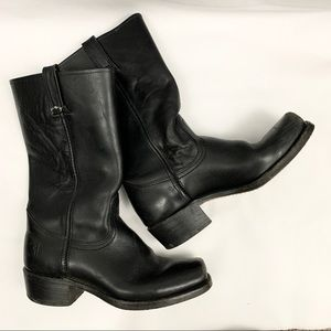 Frye Black Leather Cavalry Square Toe Riding Boots